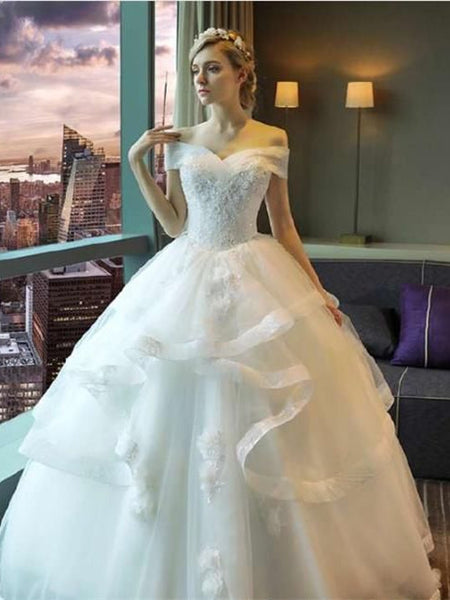 Off-shoulder Applique Organza Ball Gown Princess Style Elegant Wedding Dresses, WDY0315