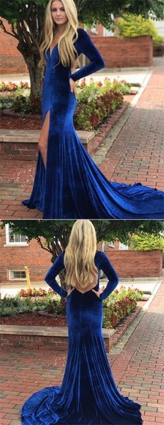 Long Sleeves V-neck Royal Blue Long Velvet Prom Dresses, Simple Prom Dresses, BG0441