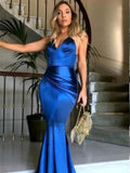 Royal Blue Satin Sexy Mermaid Cross Back Long Prom Dresses, Popular Evening Dresses, BG0355