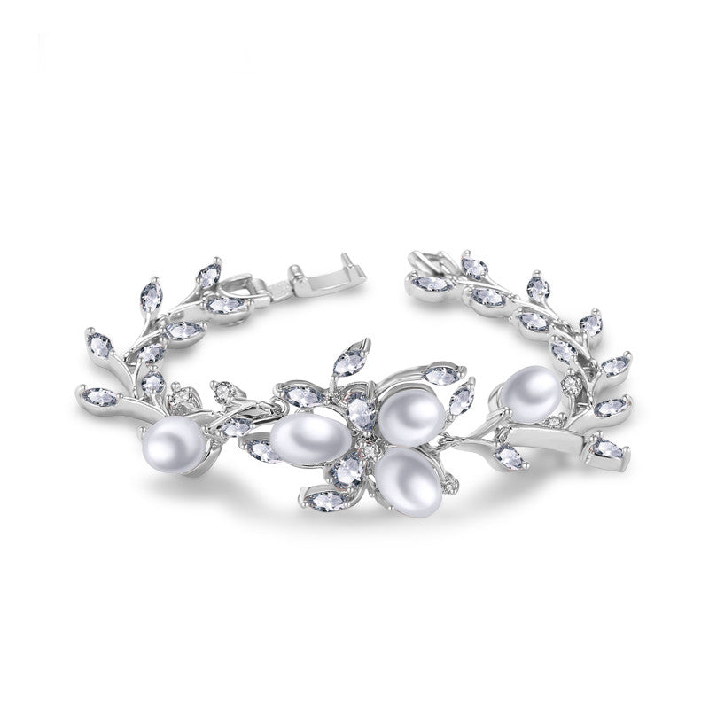 Exquisite Women Wedding Bangles Imitation Pearl Cluster Jewelry