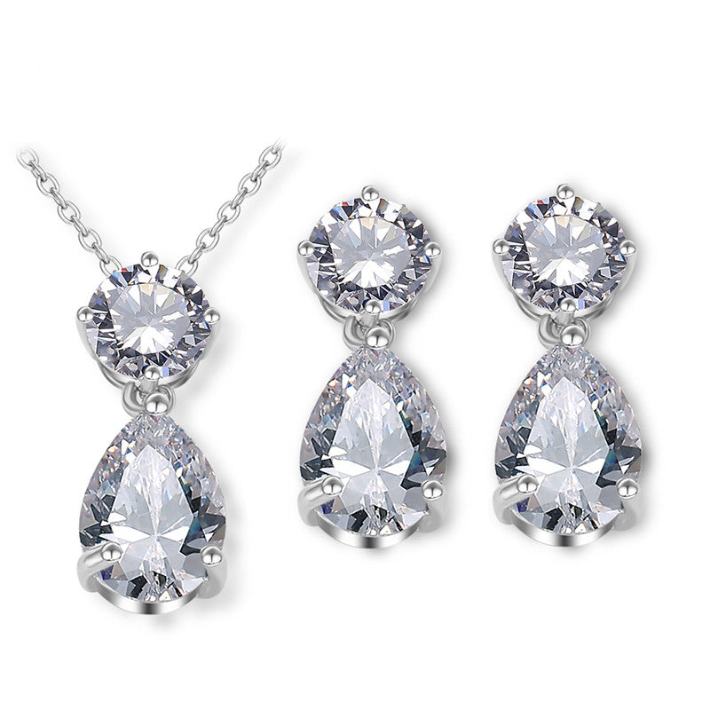 Glamorous Pear-Shaped Cubic Zirconia Wedding Necklace and Earrings Set for Brides