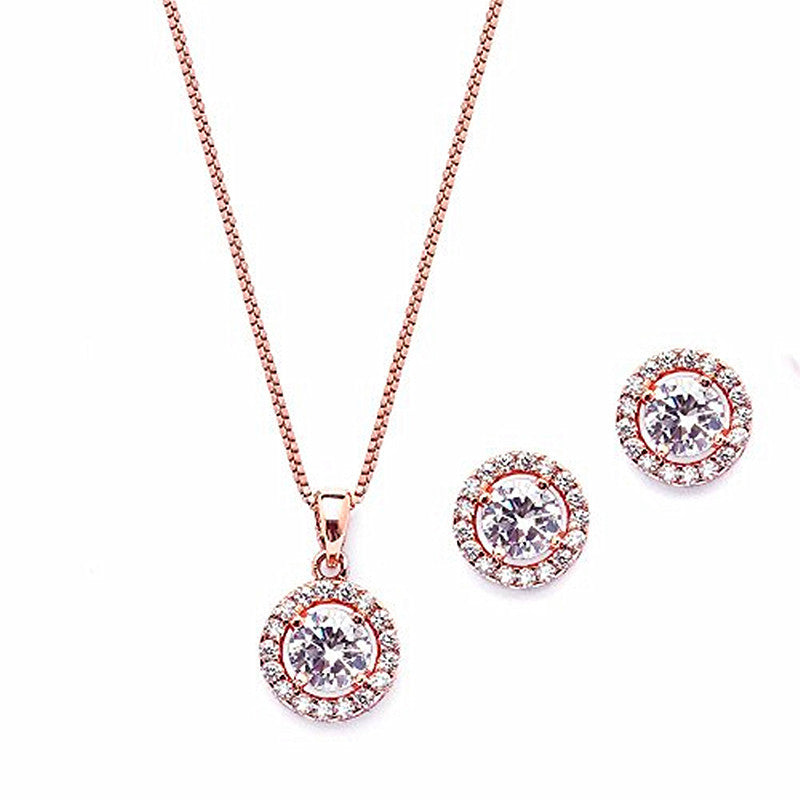 Fashion 10.5mm Cubic Zirconia Round Halo Necklace & Stud Earrings Set -14K Rose Gold Plated