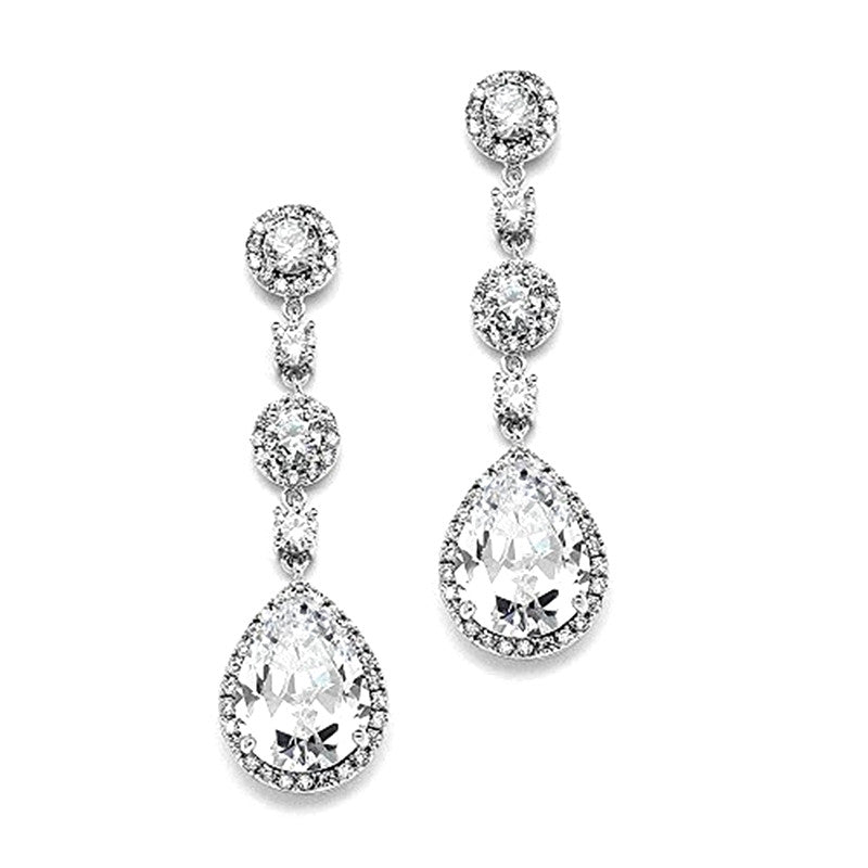 Gorgeous Platinum Plated Round-Cut Halos and Gleaming Teardrops Earrings