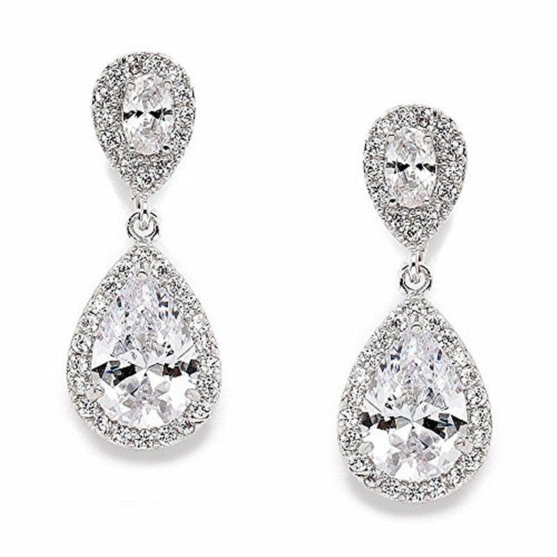 Platinum Plated Elegant Cubic Zirconia Halo Teardrop Earrings for Bridal