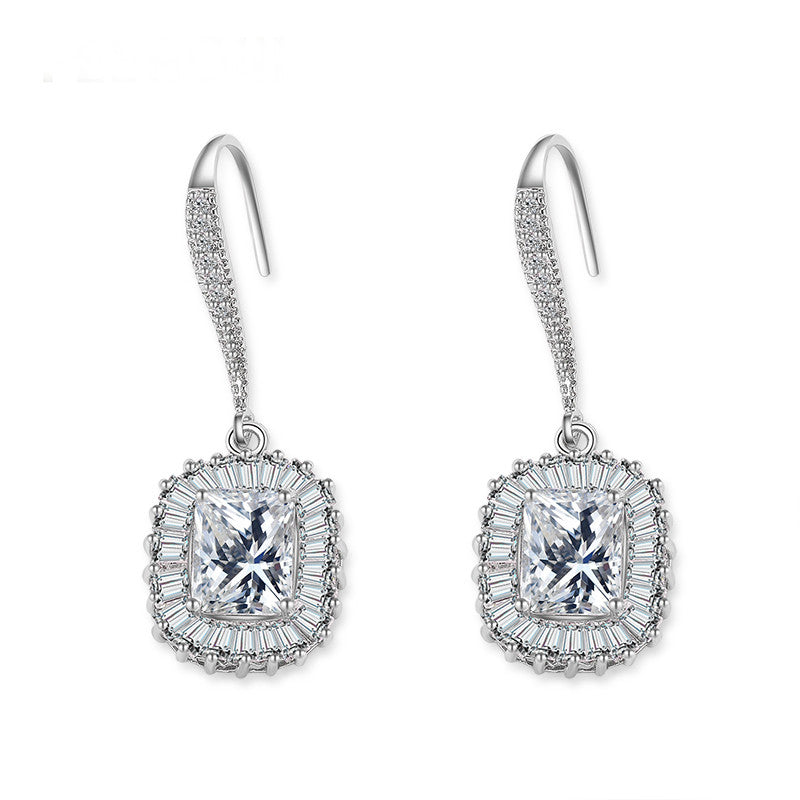 Women Party Accessories  Luxury Cubic Zirconia Square Hook Dangle Earring
