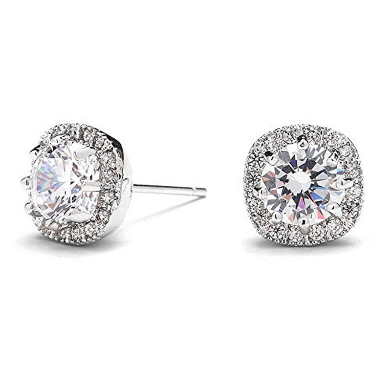 10mm Cubic Zirconia Cushion Shaped Halos - Round-Cut Pave Studs Earrings
