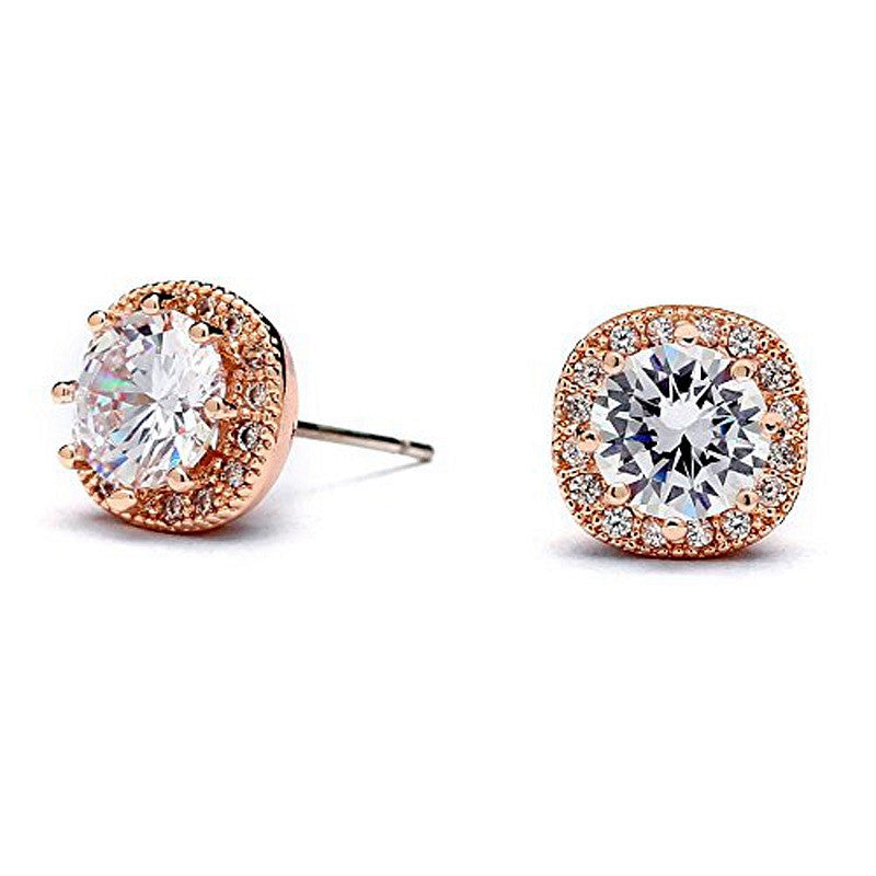 Rose Gold Plated Cubic Zirconia Cushion Shape 10mm Halo Stud Earrings