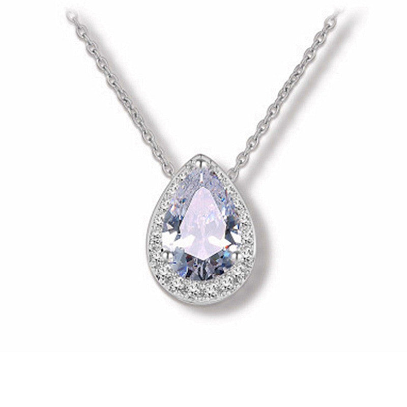 Micro-Pave CZ Framed Pear-Shaped Solitaire Necklace Pendant