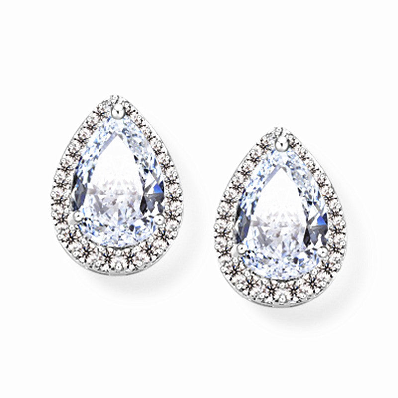 Pear-Shaped Cubic Zirconia Earrings with Platinum-Plated Pave Halo Frame