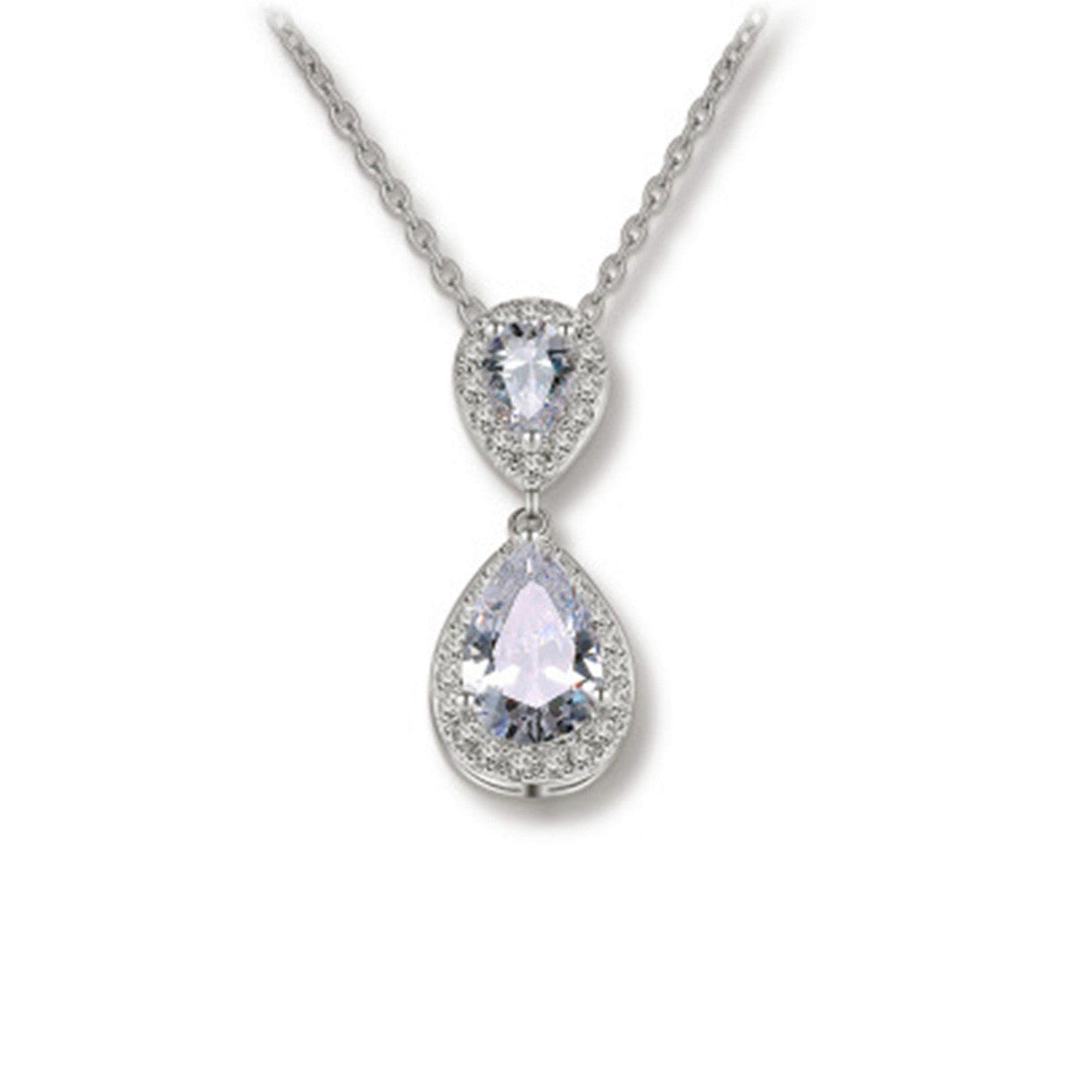 Platinum Plated Pear-Shaped Cubic Zirconia Teardrop Bridal Necklace Pendant