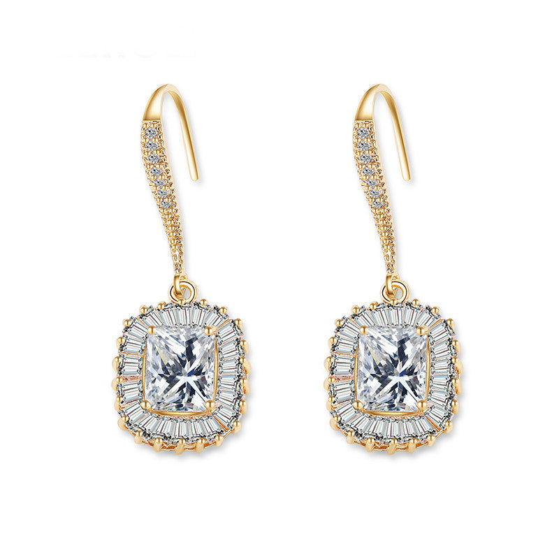 Dazzling Gold Color Jewelry Luxury Cubic Zirconia Square Hook Dangle Earring