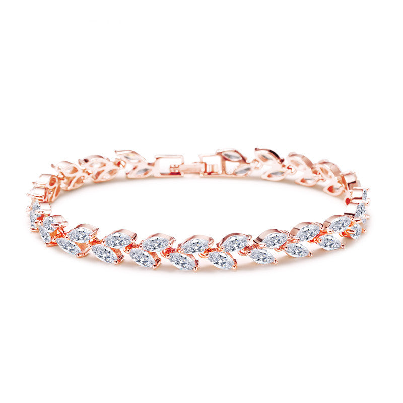 Rose gold color Women Fashion Bangles Cut Marquise Shape Zircon Bangles