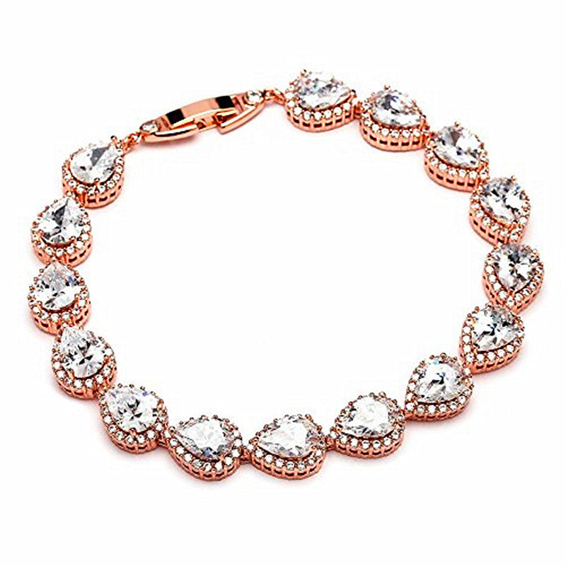 14K Rose Gold Plated Pear-Shaped Halo Cubic Zirconia Tennis Bracelet