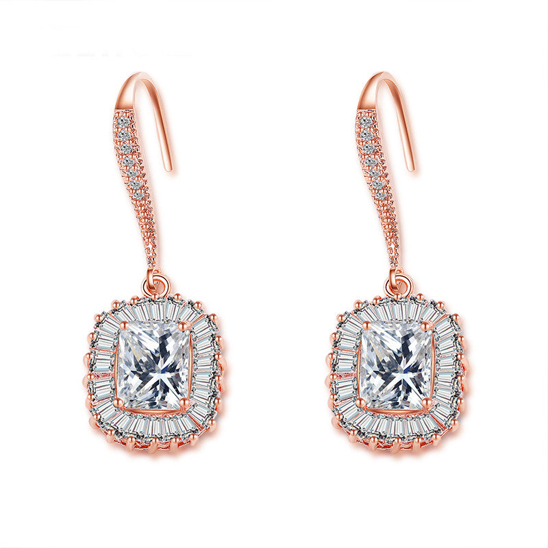 Dazzling 14k Rose Gold Luxury Cubic Zirconia Square Hook Dangle Earring