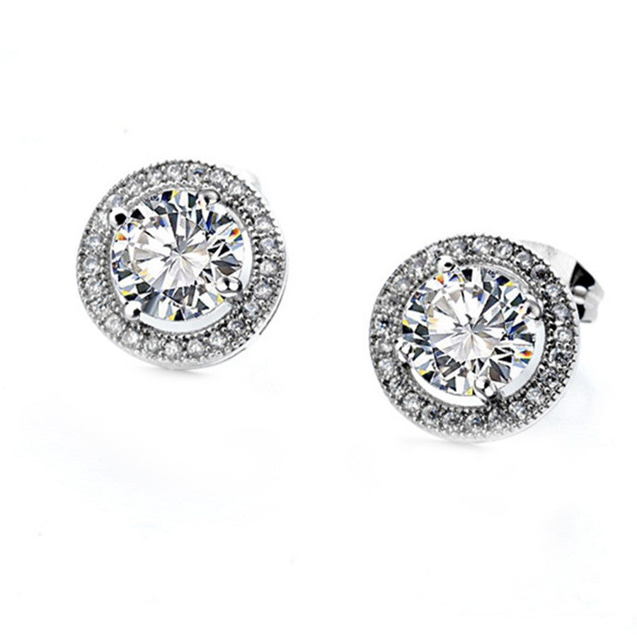 18k White Gold Plated Cubic Zirconia Cushion Shape Halo Stud Earrings