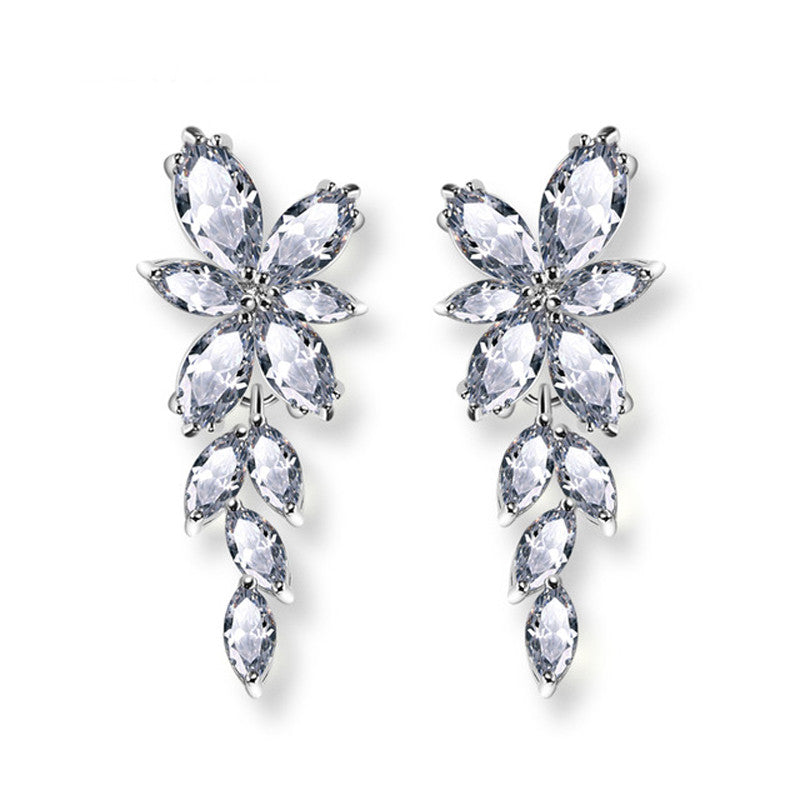 Marquise Connect Flower Shape Top Quality Cubic Zirconia Women Dangle Earrings