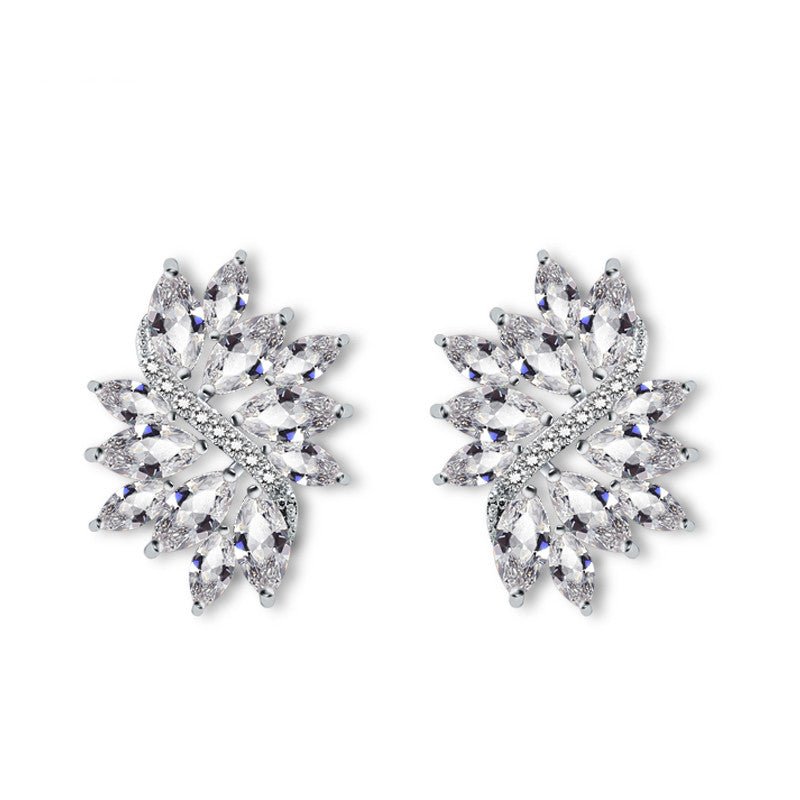 Flower Marquise Stone Cubic Zirconia Stud Earrings  For Women Bridal