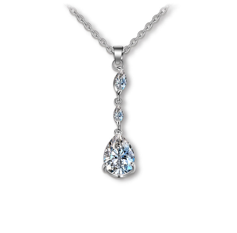 Classic Design Long Pendant Teardrop Shape Cubic Zirconia Bridal Dangle Necklace