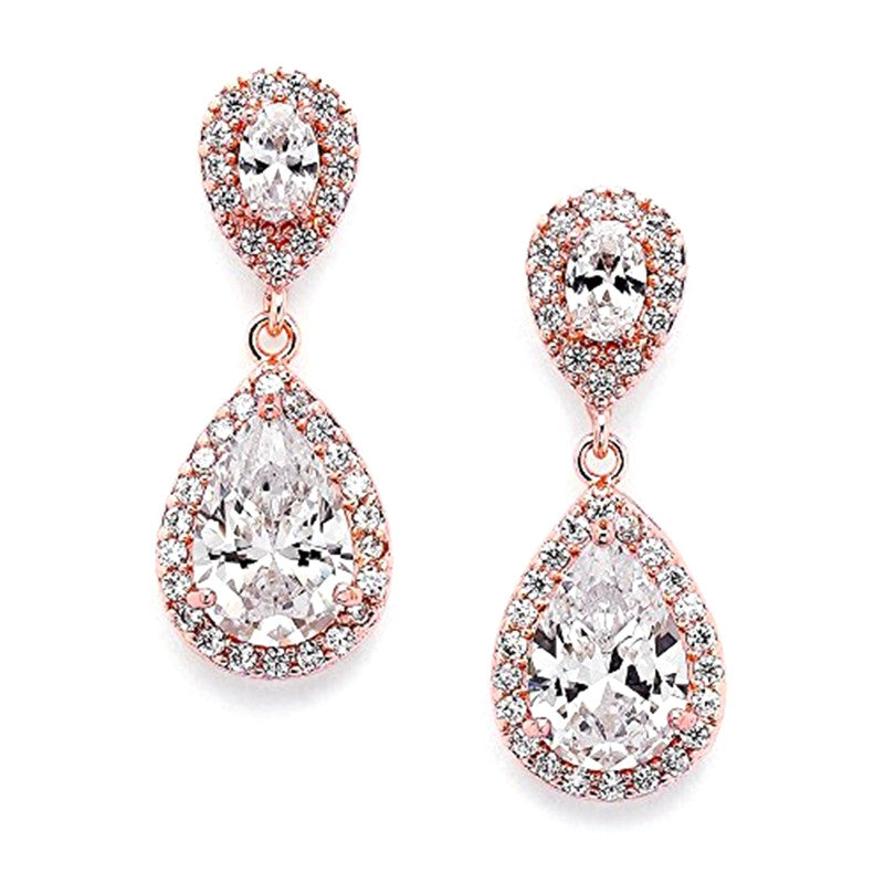 Elegant 14k Rose Gold Plated Color Cubic Zircon Halo Teardrop Earrings