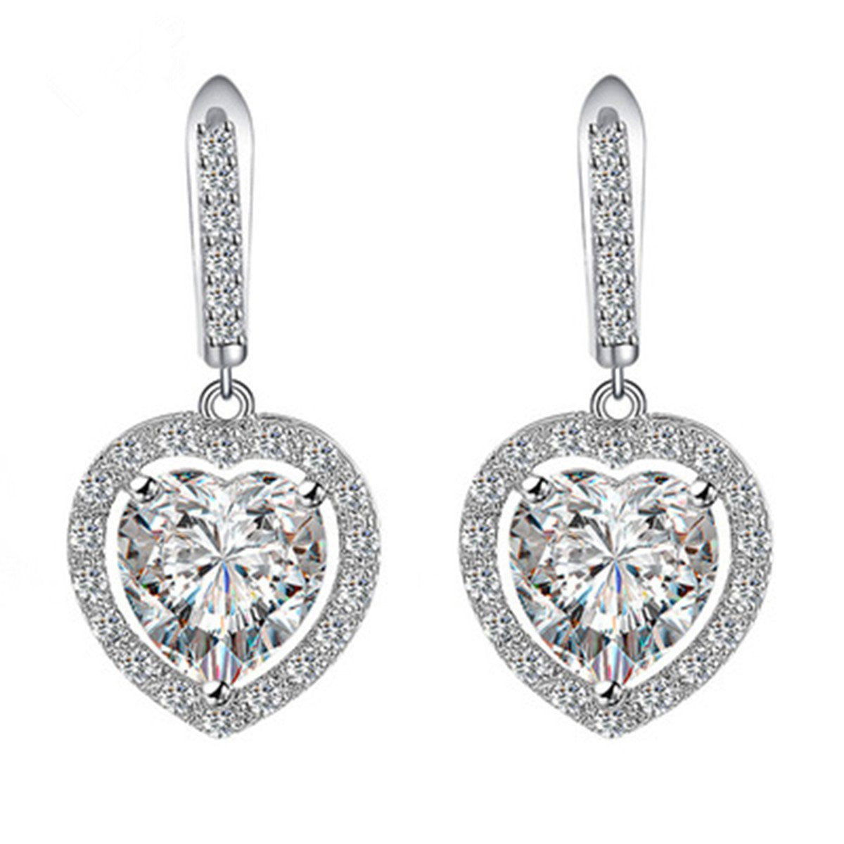 Women's Silver-tone Cubic Zirconia Heart Drop Bridal Dangle Pierced Earrings Clear