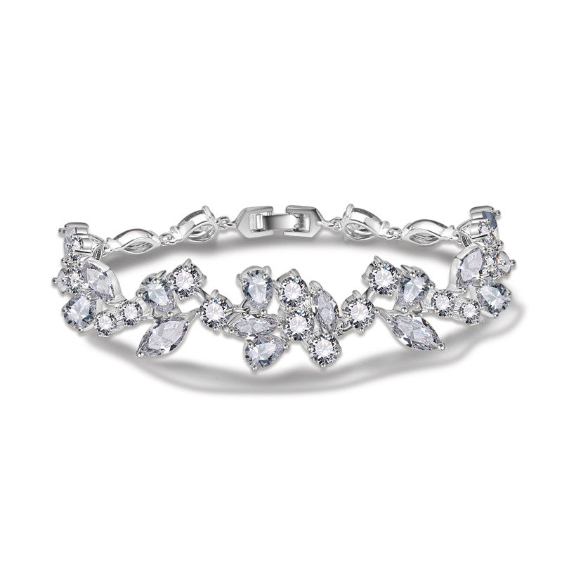 Popular Wedding Bracelet with Marquise & Round & Pear Shape Cubic Zirconia Design