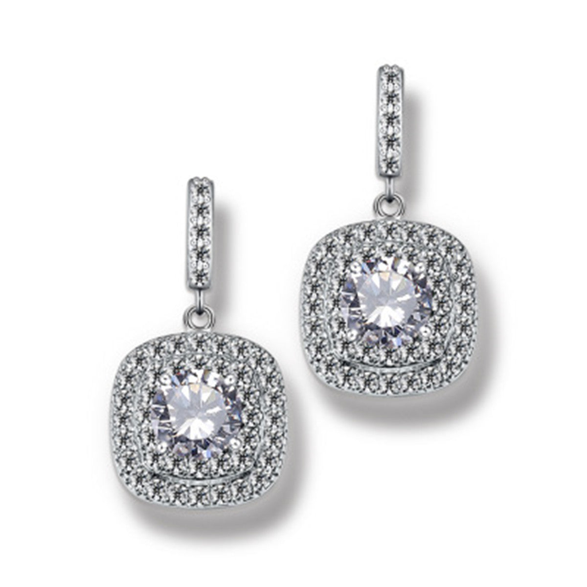 Elegant 18k White Gold Plated Cubic Zirconia Halo  with square Earrings Bridal