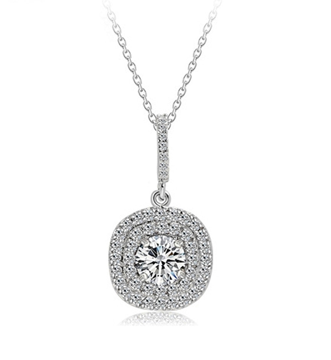 Elegant 18k White Gold Plated Cubic Zirconia Halo with square Pendant Necklace Bridal