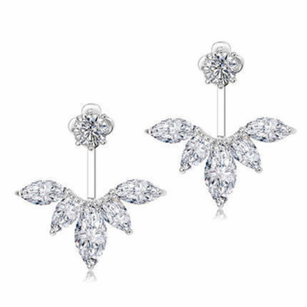 Elegant Clear Crystal Leaf Feather Ear Jacket Earrings Back Ear Cuffs Stud Earring