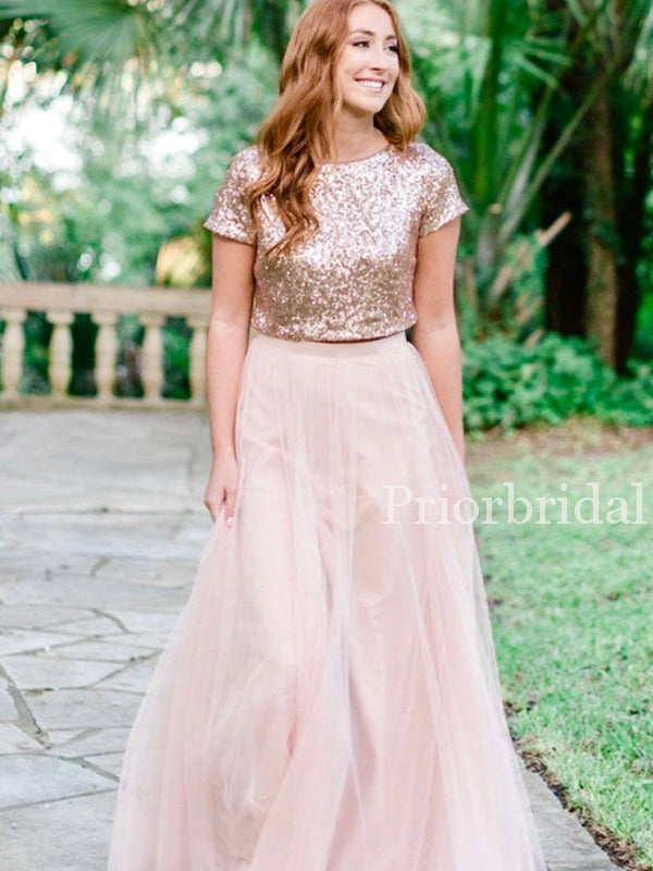 Charming Scoop Neck Sequin Tulle Long Bridesmaid Dresses. PB1153