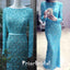 Charming Gorgeous Blue Beading Long Sleeve Round Neck Long Evening Dresses,PB1018