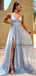 Sexy V-Neck Hot Sale Tulle A-line Simple Long Prom Party Dresses. PD1151