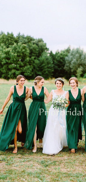 Charming V-neck A-line Tulle Satin Long Bridesmaid Dresses.PB1135