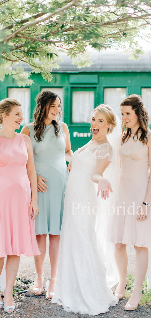 Charming Scoop Neck Knee Length Bridesmaid Dresses.PB1111