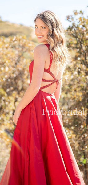 New Arrival Spaghetti Strap Lace Up Back Satin Long Prom Dresses Evening Dresses.PD1141