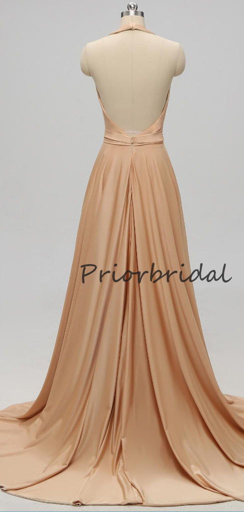 Elegant Cocktail A-line V-neck Jersey Open Back For Young Girls Evening Long Prom Dresses.PB1197