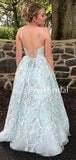 Charming V-neck A-line Tulle Lace Long Prom Dresses Evening Dresses.PB1085