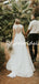 Vintage Tulle Lace A-line Slit Sleeveless Long Wedding Dresses.PB1258
