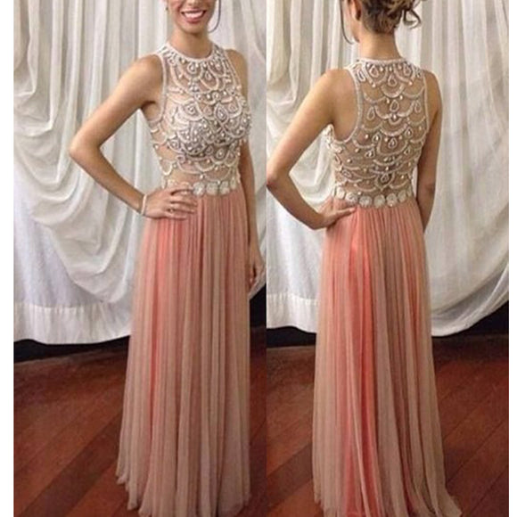 2017 New Long Pink Rhinestones Sparkly A-Line Unique Prom Gown Dresses. RG0042