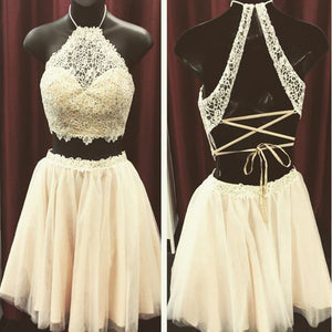 Lace two pieces open back sexy unique style Bohemian homecoming prom dress,BD00101