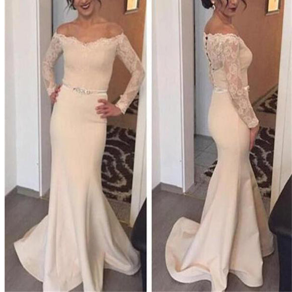 2017 Off The Shoulder With Long Sleeves Mermaid Vintage Modest Prom Gowns Dresses. RG027