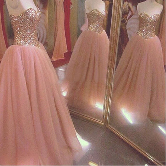 New Arrival Strapless Sweetheart Ball Gown Pretty Glitter Long Prom Dresses RG0043