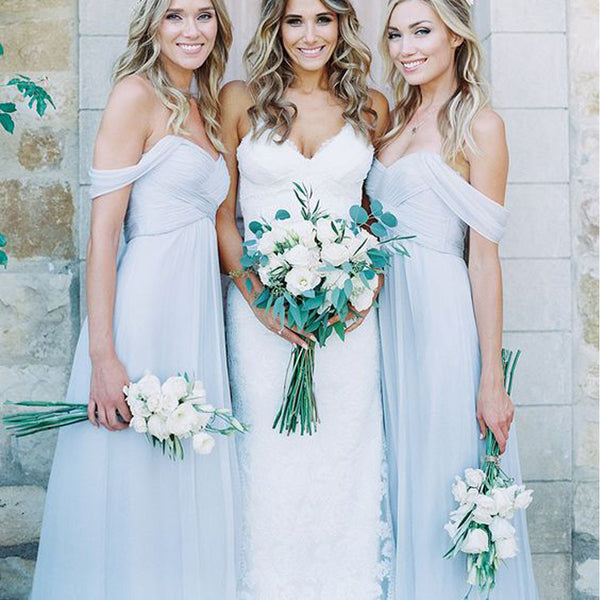 Mismatched Different Styles Chiffon Light Blue Sexy A Line Floor-Length Cheap Bridesmaid Dresses, WG104