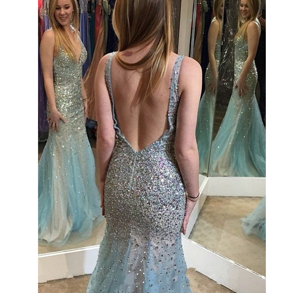 New Blue Rhinestones Sparkly Mermaid Sexy V-Back Evening Party Dress. RG0115