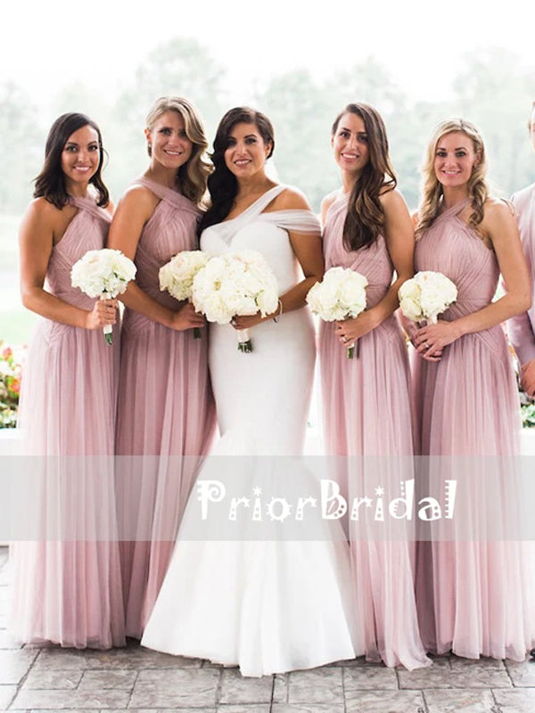 Pink Pleating Tulle Criss-cross Neckline Sleeveless Long Bridesmaid Dresses,PB1039