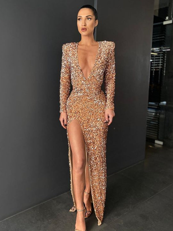 Sexy V-neck Hot Sale Side Slit Sequin Long Sleeve Simple Long Prom Party Dresses. PD1160
