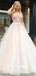 Charming V-neck A-line Tulle Lace Zipper Up Long Prom Dresses Evening Dresses.PB1086