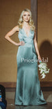 Charming V-neck A-line Long Bridesmaid Dresses ,PB1038