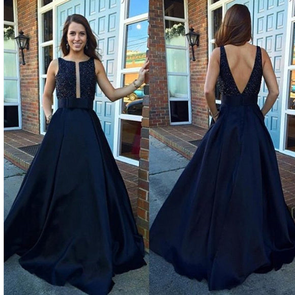 2017 V-Back Ball Gown Vintage A-line Modest Beading Long Prom Dresses.  RG056