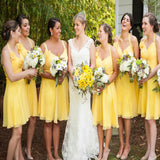 Yellow Beautiful Cap Sleeve Short Simple Knee Length Wedding Party Dresses, Cheap Homecoming Graduation Occasion Dresses,PB1004