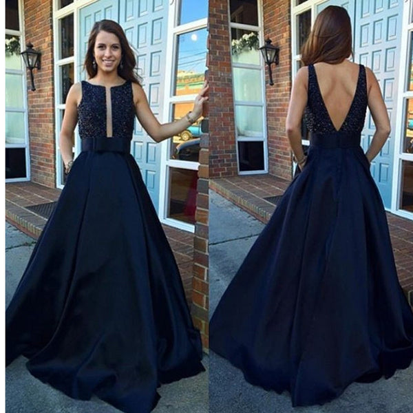 V-Back Ball Gown Vintage A-line Modest Beading Long Prom Dresses.  RG056